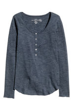 Jersey top with buttons - Dark blue marl - Ladies | H&M CN 2
